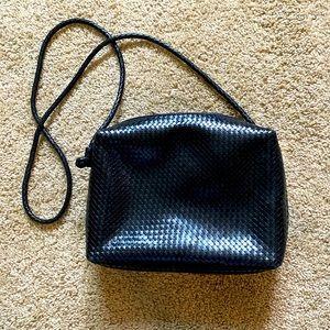 Vintage CEM black woven leather crossbody